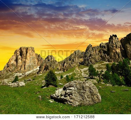 Beautiful mountain landscape at sunset. Valle del Vajolet in Dolomites,Italien Alps