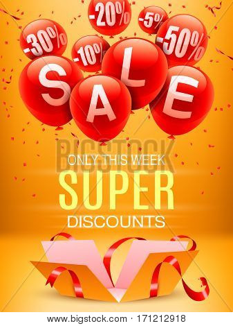 Opened gift box and balloons on yellow background. Sale and super discounts announcement