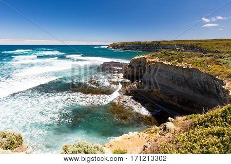 Great Ocean Rd coastline at Port Campbell in Victoria, Australia