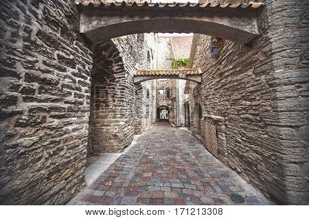 St. Catherine's Passage in Tallinn Estonia. medieval city in Europe