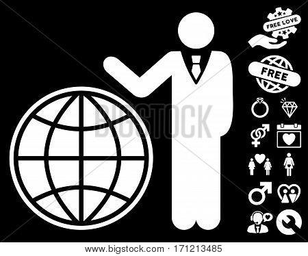 Planetary Manager pictograph with bonus dating icon set. Vector illustration style is flat iconic white symbols on black background.