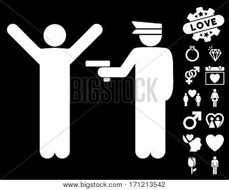 Police Arrest icon with bonus dating pictograph collection. Vector illustration style is flat iconic white symbols on black background.