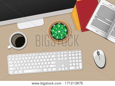 Top view of work place with computer. Vector illustration