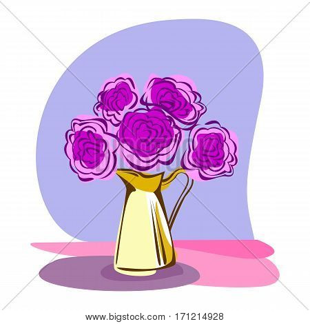 Flowers composition. Retro style clip art with bouquet of pink roses in yellow jug. Decorative design element. Vector illustration.