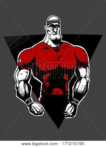 Line Drawing of Muscular Rugby Player on Black