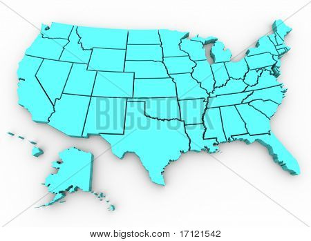 A blue 3d rendering of a United States map