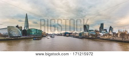 Panoramic View Of London From Tower Bridge