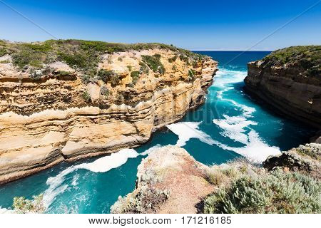 Thunder Cave at Loch Ard Gorge along the Great Ocean Rd near Port Campbell in Victoria, Australia
