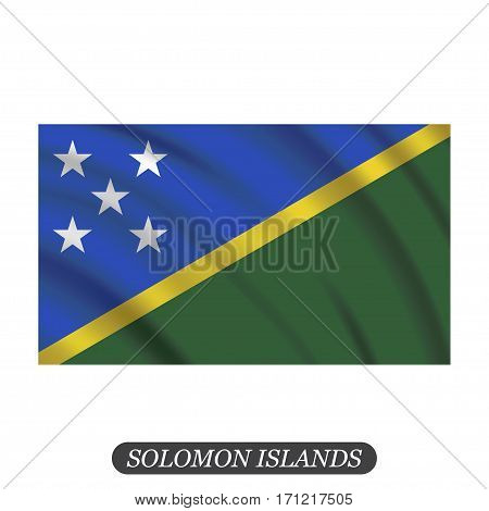 Waving Solomon Islands flag on a white background. Vector illustration