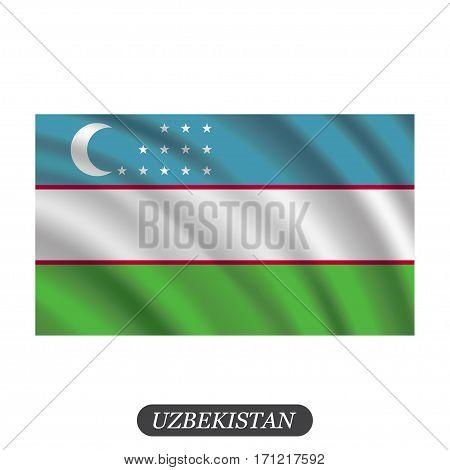 Waving Uzbekistan flag on a white background. Vector illustration