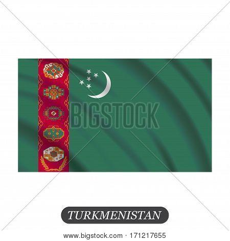 Waving Turkmenistan flag on a white background. Vector illustration