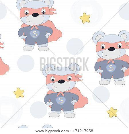 hand drawn seamless superhero teddy bear vector illustration.