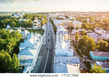 Cathedral city sunset in summer Vladimir, Russia