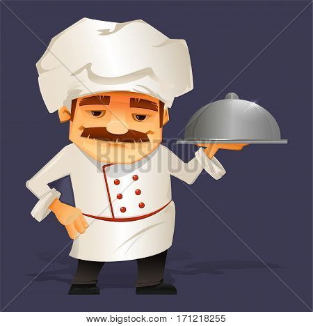 Chef Cook Serving Food. Cute cartoon character cooks in uniform and holding Restaurant Cloche. Isolated vector illustration