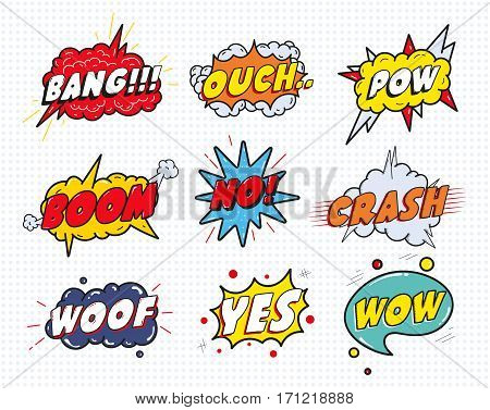 Comic sound speech effect bubbles set isolated on white background vector illustration. Wow, pow, bang, ouch, crash, woof, no, yes lettering.