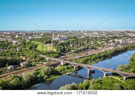 Vladimir bridge over the Klyazma in aerial view summer, Russia