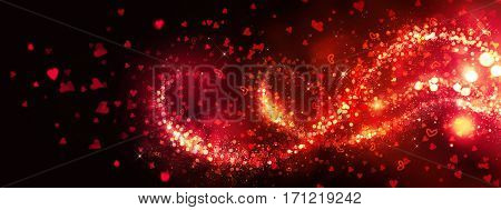 Valentine Hearts Background. Abstract Red Blinking Heart. St. Valentine's Day. Love. Romantic flying red love hearts and sparks wedding background. Border Over black