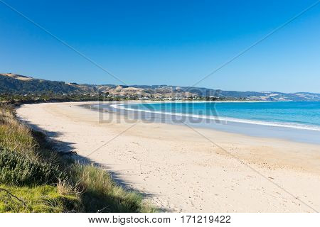 The view from Marengo Holiday Park towards Apollo Bay along the Great Ocean Rd in Victoria, Australia