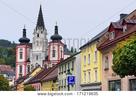 MARIAZELL/ AUSTRIA - OCTORBER 7. Shrine of Our Lady in city Mariazell, site of pilgrimage for catholics on October 7, 2016. Austria.