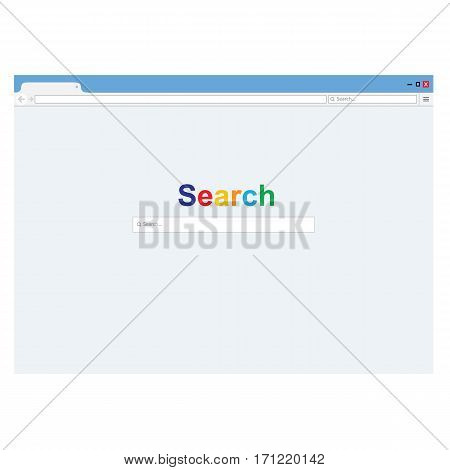 Browser window with default search page. Vector illustration. Web browser in flat style. Window concept internet browser.