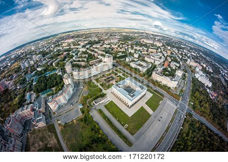 White House in Vladimir, Russia in aerial view summer