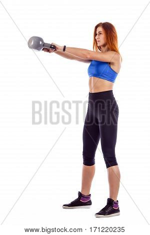 Beautiful Fit Woman Making Exercises With Dumbbell.