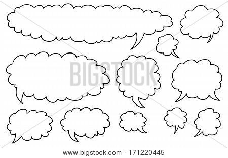 Set04 of illustrated vector speech text bubbles