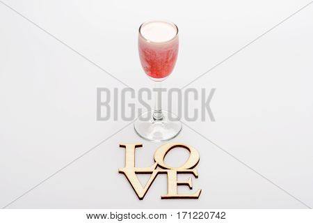 Alcohol Coctail Singapore Sling With Love Inscription