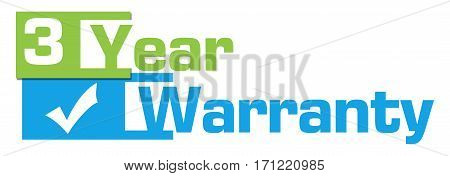 Three year warranty text written over blue green background.