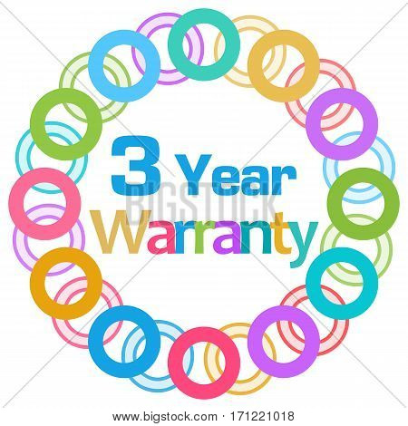 Three year warranty text written over colorful circular background.