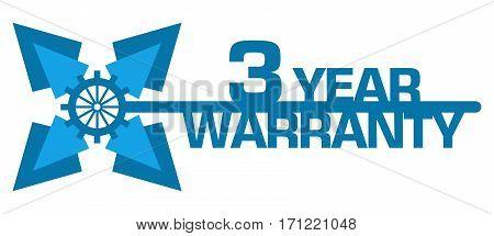 Three year warranty text written over blue background.