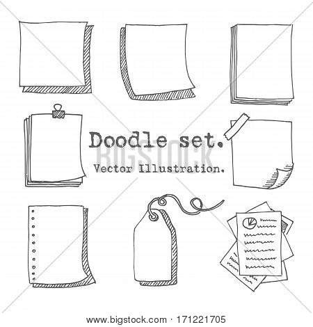 Hand Drawn Vector Set Of Paper Sheet, Pack Of Paper, Tag, Sticky Note, Notepad Page With Pin, Scotch