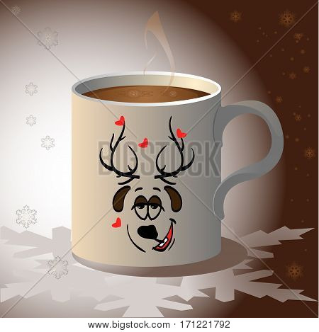 Vector mugs decorated with funny christmas deers. Hand drawn festive vector mugs illustration on dark brown background. Cute Christmas greeting card.