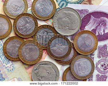 Coins and banknotes of the USSR and Russia. Collection. Background with money signs.