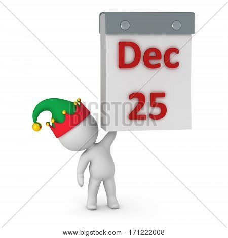 3D character in elf hat holding up a tear-off calendar showing December 25th. Isolated on white background.