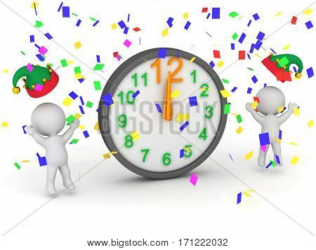 3D characters celebrating midnight with confetti and clock. Isolated on white background.