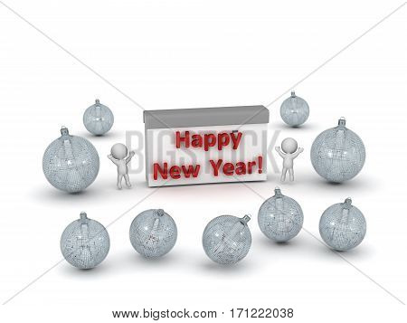 3D characters celebrating with decorative globes and calendar reading Happy New Year. Isolated on white background.