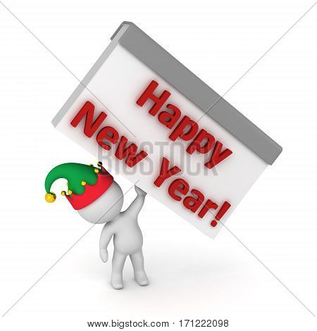 3D character in elf hat holding up a tear-off calendar reading Happy New Year. Isolated on white background.