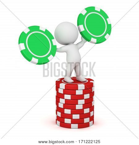 3D charcter holding poker chips standing on a stack of poker chips. Isolated on white background.