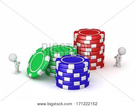 3D charcters and stacks of large poker chips. Isolated on white background.