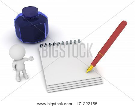 3D character with a notepad and fountain pen and an ink well. Isolated on white background.