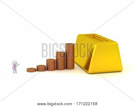 3D character showing stacks of coins leading up to a large gold bar. Isolated on white background.
