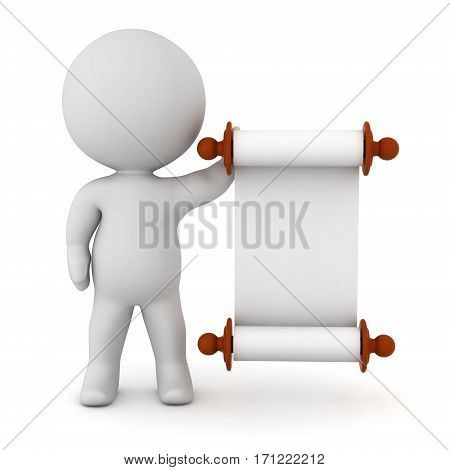 3D character holding an empty scroll. Isolated on white background.