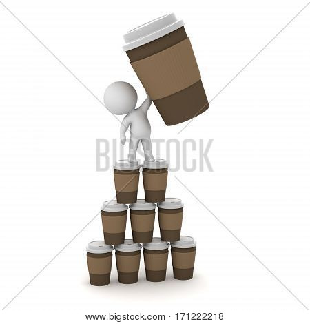3D character with large coffee cups. Isolated on white background.