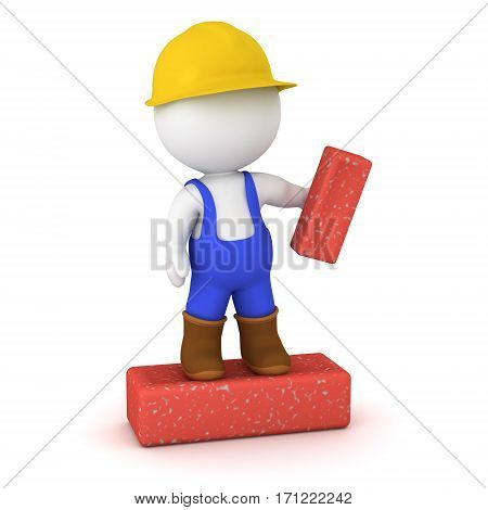 3D character worker in overalls and hard hat standing on a large brick. Isolated on white background.