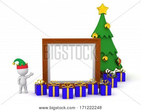 3D character in elf hat showing an empty frame and Christmas tree with gifts. Isolated on white background.