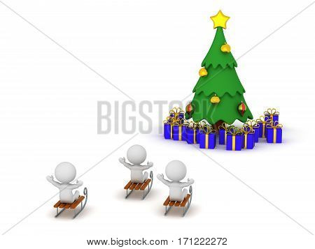 3D characters riding sleds and a Christmas tree with gifts. Isolated on white background.