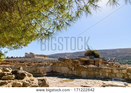Ruins of ancient city Crete, beautiful view of nature.