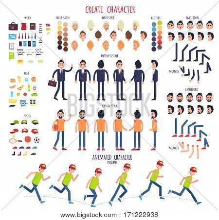 Create character. Set of different illustrations with body parts. Work. Rest. Sport. Hair style. Skin. Clothes. Emotions. Moves. Animated characters Business casual style Cartoon design Vector