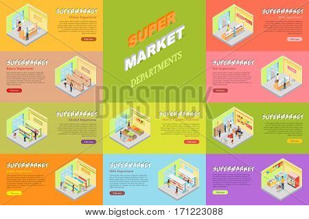 Supermarket departments banners set. Cheese, bakery, alcoholic, juices, fruits and vegetables, milk, meat, fish store shop web banners. Collection of mall departments in flat style design. Vector